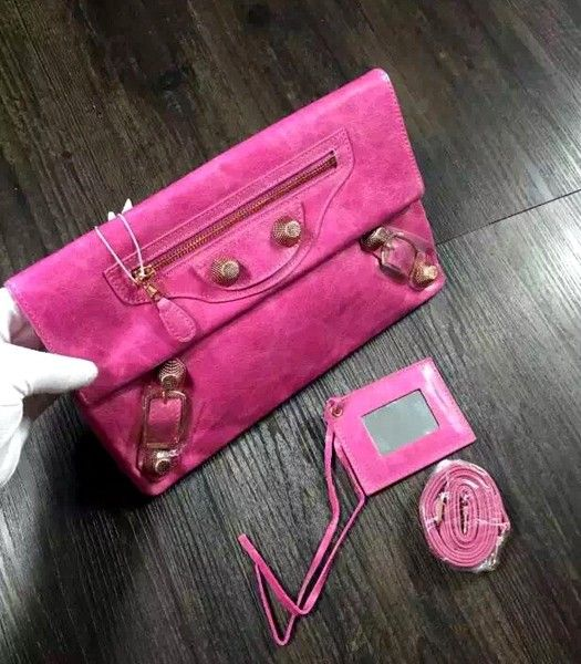 Balenciaga Classic Oil Wax Leather Clutch Rose Red