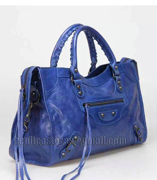 Balenciaga Motorcycle City Bag in Blue Imported Leather Gun Nails_1