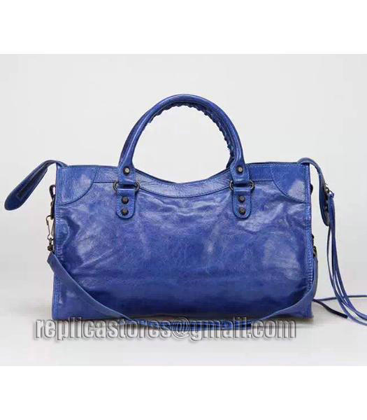 Balenciaga Motorcycle City Bag in Blue Imported Leather Gun Nails_2