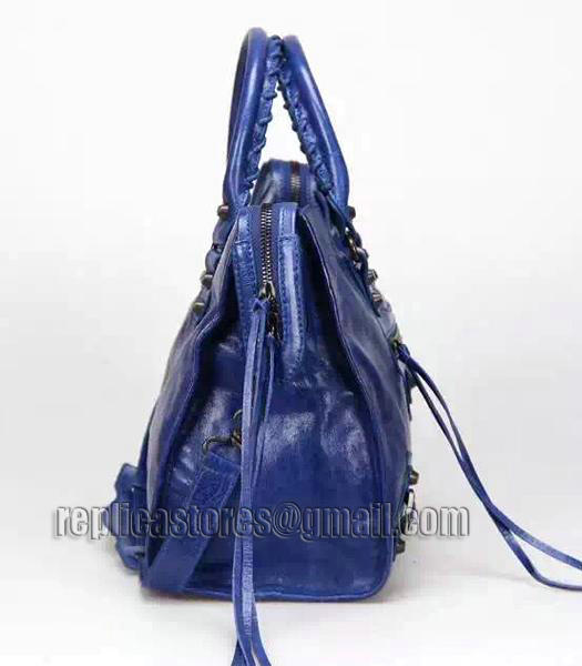 Balenciaga Motorcycle City Bag in Blue Imported Leather Gun Nails_4