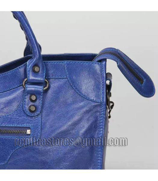 Balenciaga Motorcycle City Bag in Blue Imported Leather Gun Nails_5