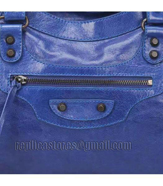 Balenciaga Motorcycle City Bag in Blue Imported Leather Gun Nails_6