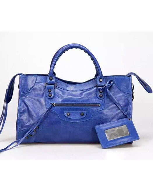 Balenciaga Motorcycle City Bag in Blue Imported Leather Gun Nails