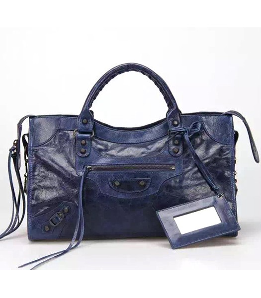 Balenciaga Motorcycle City Bag in Dark Blue Imported Leather Gun Nails