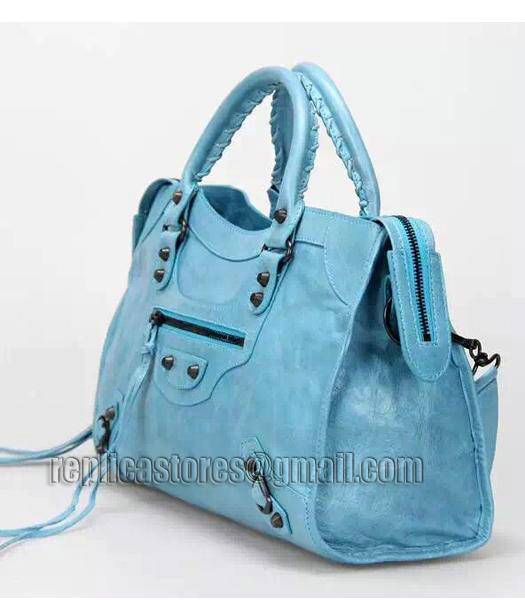 Balenciaga Motorcycle City Bag in Light Blue Imported Leather Gun Nails-1