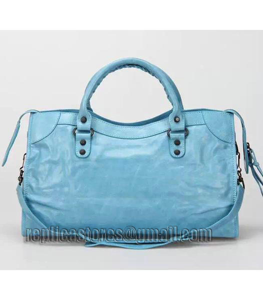 Balenciaga Motorcycle City Bag in Light Blue Imported Leather Gun Nails-2