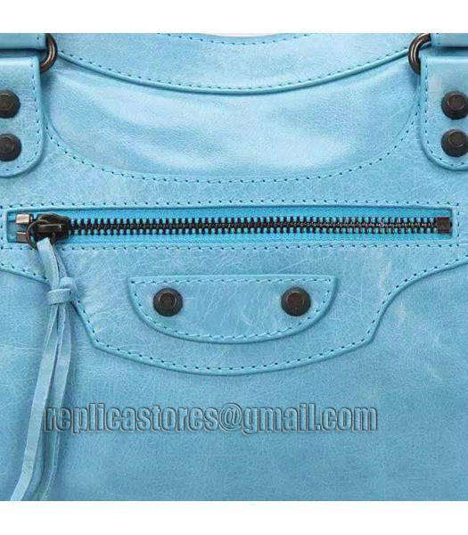 Balenciaga Motorcycle City Bag in Light Blue Imported Leather Gun Nails-5