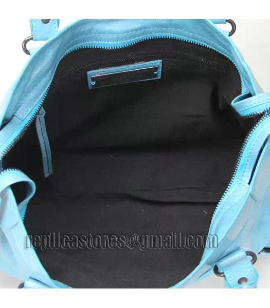 Balenciaga Motorcycle City Bag in Light Blue Imported Leather Gun Nails-6