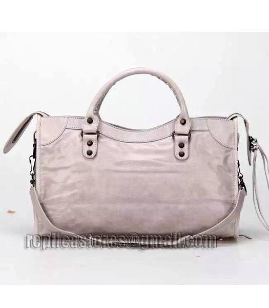 Balenciaga Motorcycle City Bag in Light Grey Imported Leather Gun Nails_3