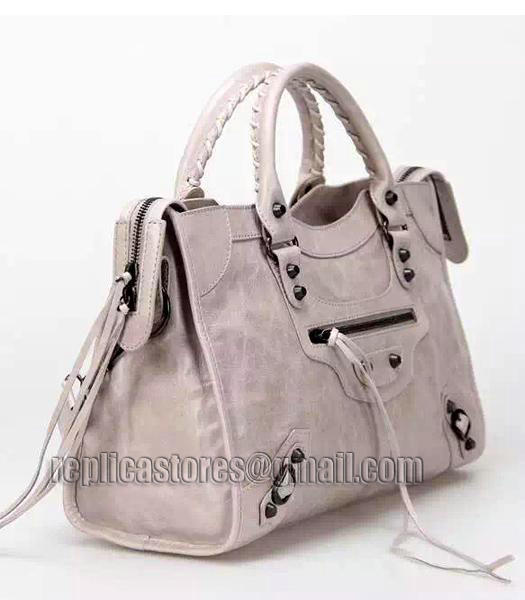 Balenciaga Motorcycle City Bag in Light Grey Imported Leather Gun Nails_4