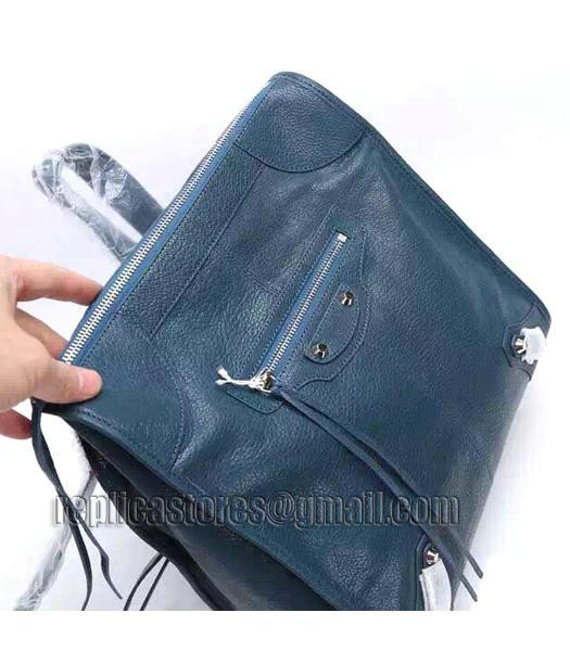 Balenciaga Sapphire Blue Original Lambskin Leather Backpack Silver Nails_3