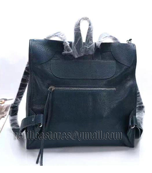 Balenciaga Sapphire Blue Original Lambskin Leather Backpack Silver Nails_4