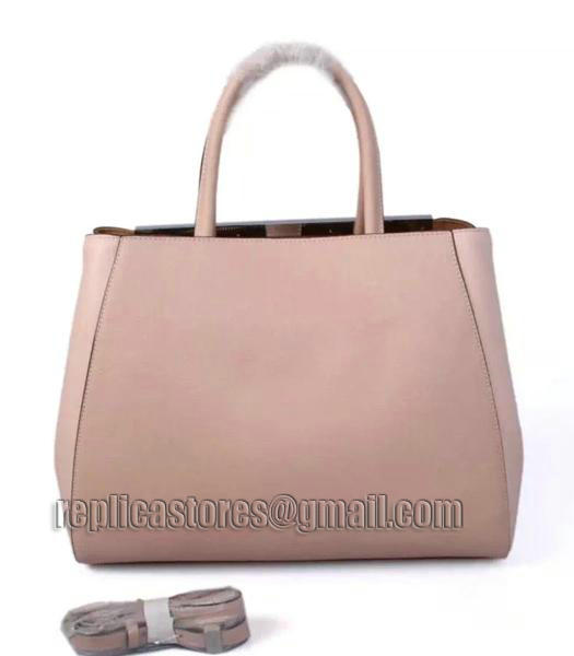 Fendi Color Splice Original Cow Leather Bag Nude Pink Silver Metal-2