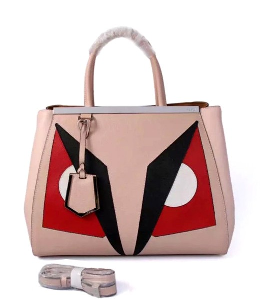 Fendi Color Splice Original Cow Leather Bag Nude Pink Silver Metal