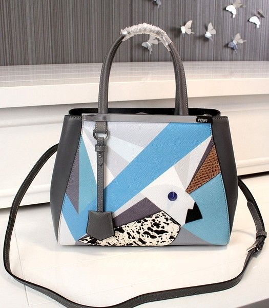 Fendi New Style Birds Pattern Grey Leather Tote Bag