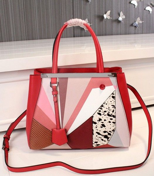 Fendi New Style Birds Pattern Red Leather Tote Bag