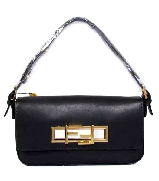 Fendi Qitweet Small Tote Bag Black Leather Golden Metal