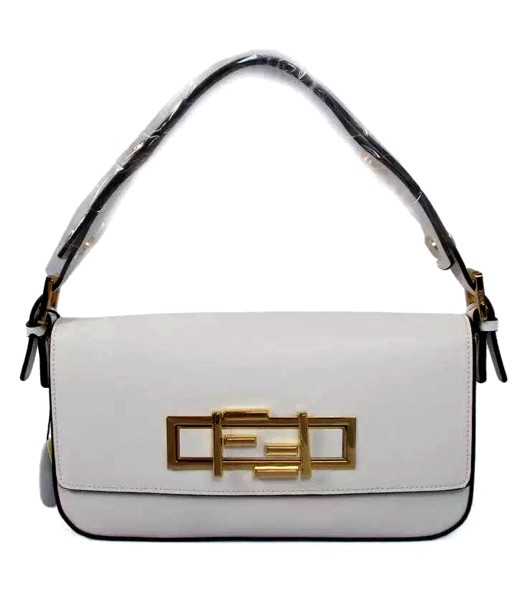 Fendi Qitweet Small Tote Bag Offwhite Leather Golden Metal