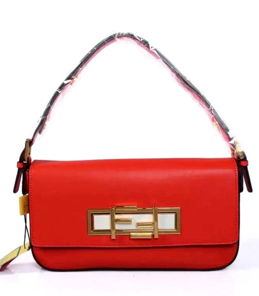 Fendi Qitweet Small Tote Bag Red Leather Golden Metal