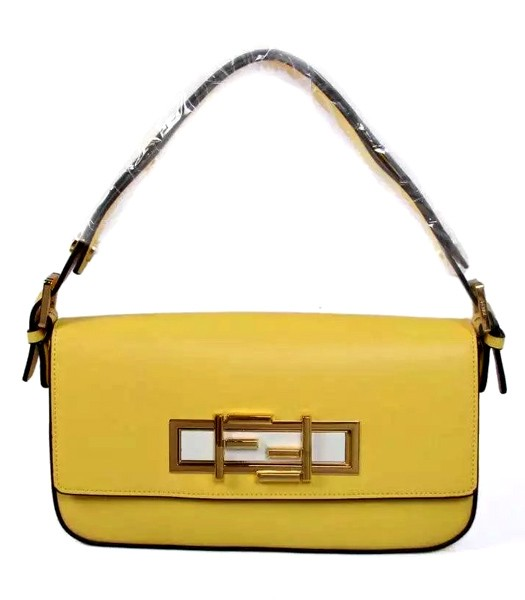 Fendi Qitweet Small Tote Bag Yellow Leather Golden Metal
