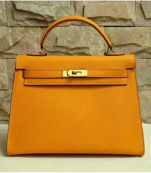 Hermes Kelly 32cm Dark Yellow Palmprint Leather Bag Golden Metal