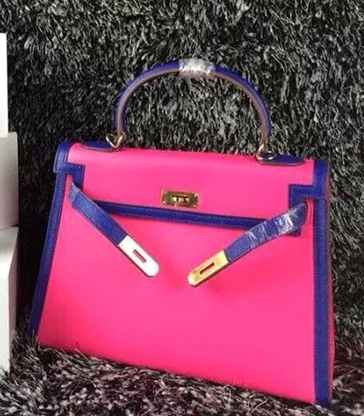 Hermes Kelly 32cm Palmprint Leather Plum Red/Electric Blue Golden Lock