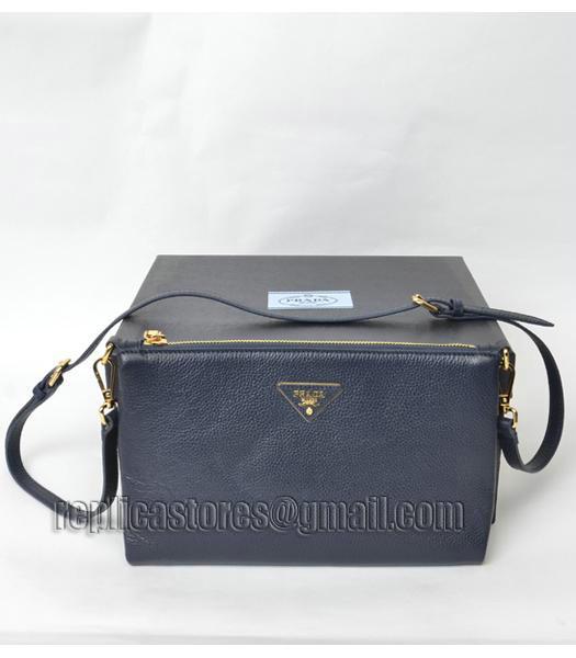 55fdc990a7d7 discount code for prada mini original litchi veins shoulder bag dark blue  golden metal 1 f8ac8