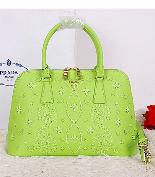 Prada Saffiano Embroidered Top Handle Bag Apple Green Leather