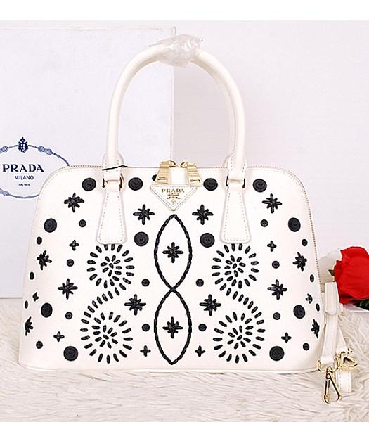 Prada Saffiano Embroidered Top Handle Bag White Leather