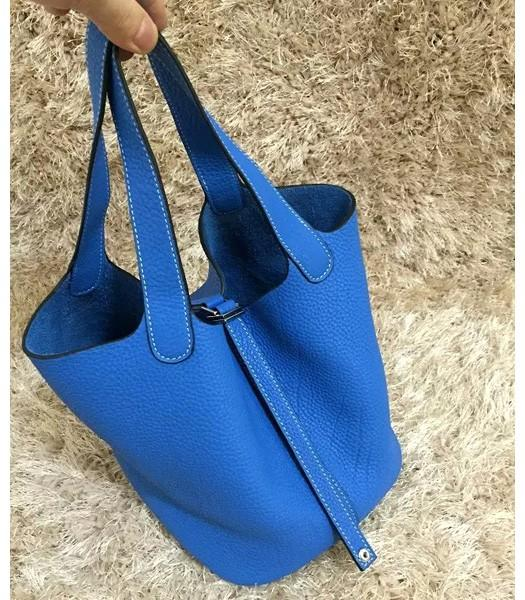 Hermes Picotin Lock MM Bag Original Leather In Brilliant Blue