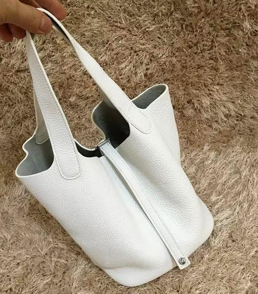 Hermes Picotin Lock MM Bag Original Leather In White