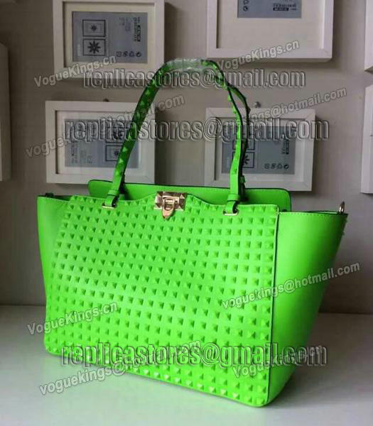 Valentino Rockstud Noir 1083 Tote Bag With Fluorescent Blue Original Leather-1