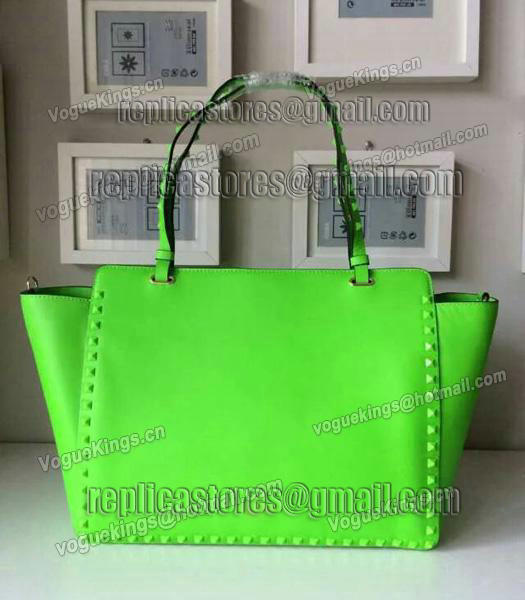Valentino Rockstud Noir 1083 Tote Bag With Fluorescent Blue Original Leather-2