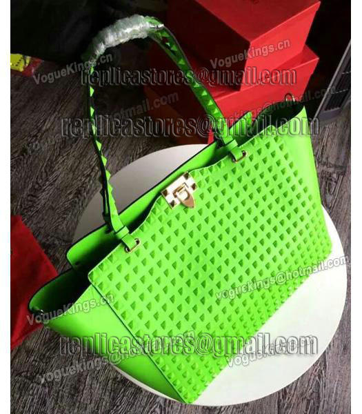 Valentino Rockstud Noir 1083 Tote Bag With Fluorescent Blue Original Leather-6