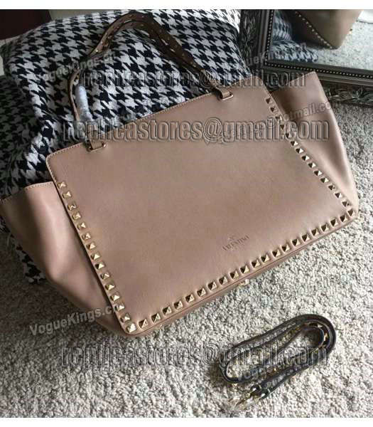 Valentino Rockstud Large Tote Apricot Original Leather Golden Nail-2