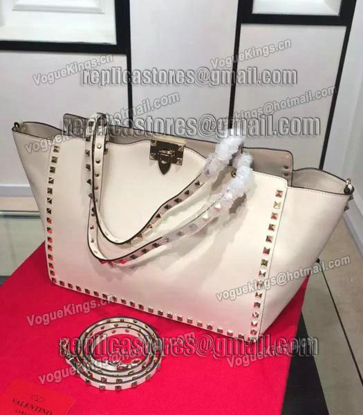 Valentino Rockstud Large Tote Ivory White Original Leather Golden Nail-1