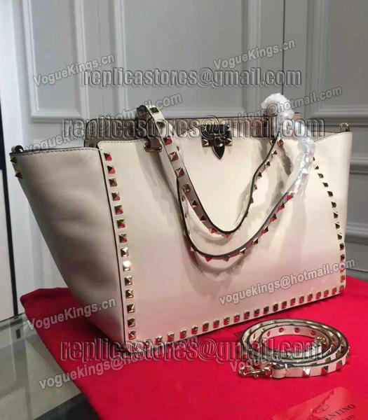 Valentino Rockstud Large Tote Ivory White Original Leather Golden Nail-2