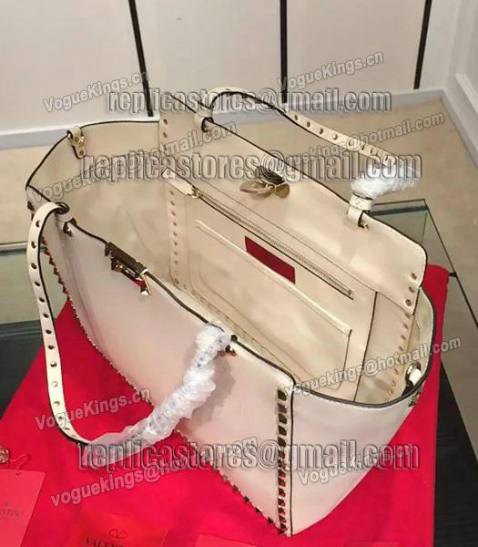 Valentino Rockstud Large Tote Ivory White Original Leather Golden Nail-4