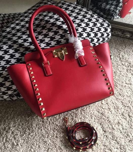 Valentino Rockstud Double Handle Bag Red Original Leather Golden Nail