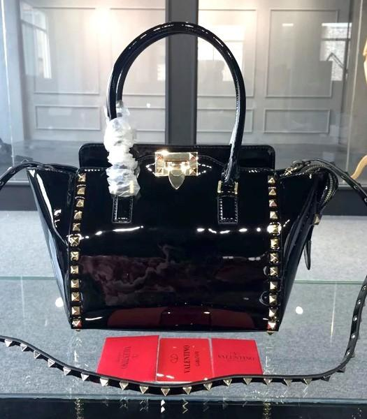 Valentino Rockstud Double Handle Bag Black Original Patent Leather Golden Nail