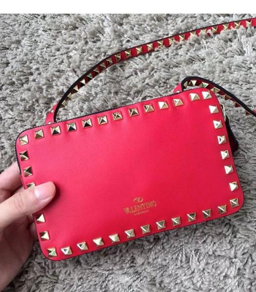 Valentino Rockstud Cross Body Bag Red Original Leather Golden Nail-1