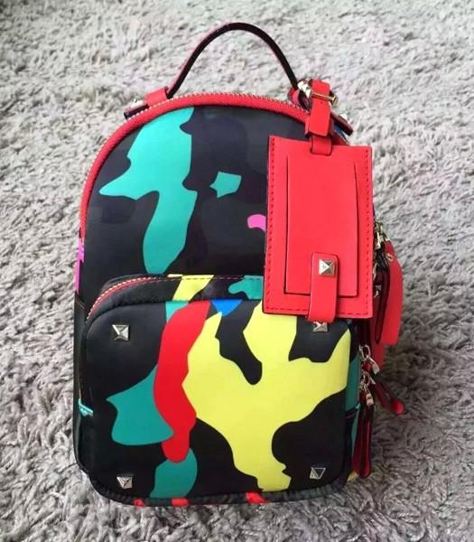 Valentino Rockstud Mini Camouflage Backpack Red Original Leather