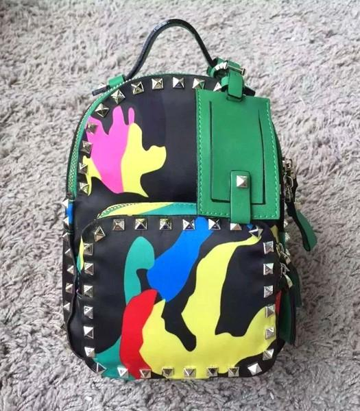 Valentino Rockstud Mini Camouflage Rivet Backpack Green Original Leather