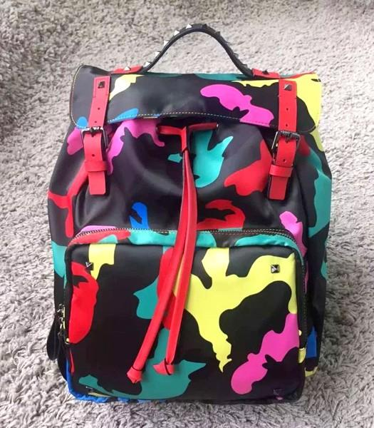 Valentino Rockstud Camouflage Small Backpack Red Original Leather