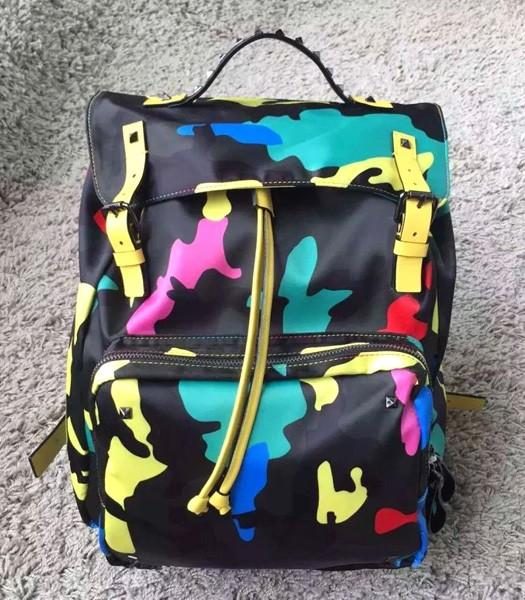 Valentino Rockstud Camouflage Small Backpack Yellow Original Leather
