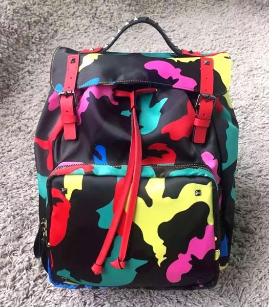 Valentino Rockstud Camouflage Backpack Red Original Leather