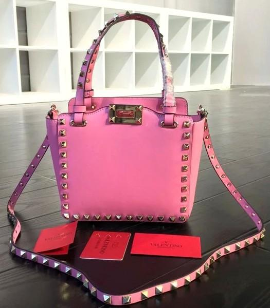 Valentino Mini Tote Bag Pink Original Leather Golden Nail