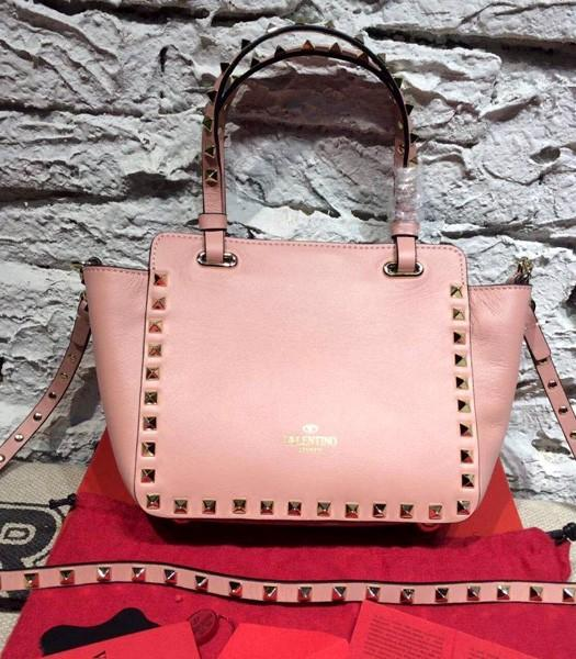 Valentino Mini Tote Bag Peony Pink Original Leather Golden Nail