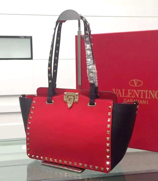 Valentino Tote Bag Black/Red Original Leather Golden Nail