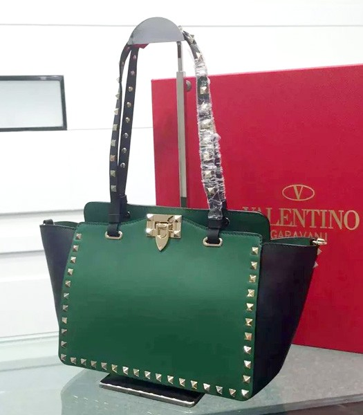Valentino Tote Bag Black/Green Original Leather Golden Nail